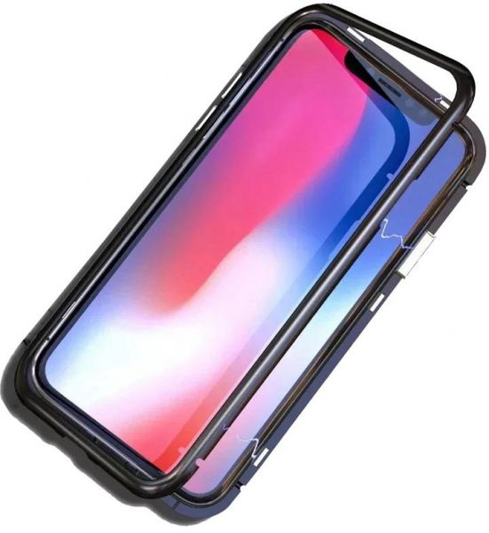 pretty nice 9b781 ad6fa iphone 6s / 6 Case 360 Degree full cover 2 pieces metal frame Magnetic  tempered glass back Case - Black