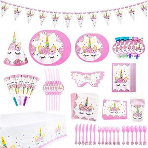 90 Pack Unicorn Themed Party Supplies Set Girl Birthday Decorations Disposable Tableware For Kids Table Cover Napkins Plates Cups Banner Invitation Cards