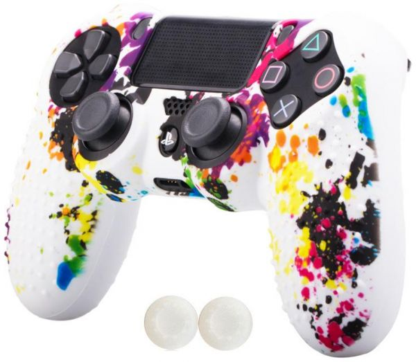 6ff36739d921 Silicone controller Skin Cover Case   thumb grip cap for SONY Playstation 4  PS4--controller x 1 With Pro thumb grips x 2-White Graffiti