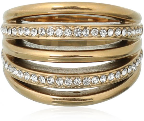 Milano Stainless Steel Ring.Ferre Milano Fashion Ring For Women Gold Souq Uae