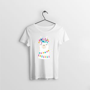 Llama Illustration Cute Hand Drawn Elements And Design For Nursery Poster Birthday Greeting Card White T Shirt