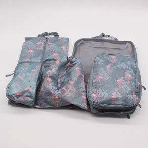 5 pieces waterproof travel clothes storage bag luggage organizer (Gray and Blue flamingo)