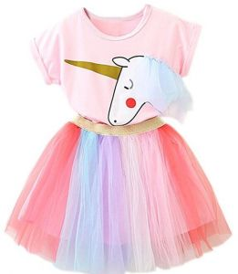 ab368ded89ea Cute girl's tutu skirt Girl Unicorn Clothing 2pcs Outfits with Pink Tops  Colorful Lace Tutu Dress