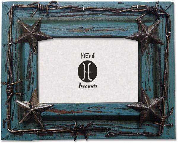 HiEnd Accents Western Distressed Wood Frame with Barbwire and Stars ...