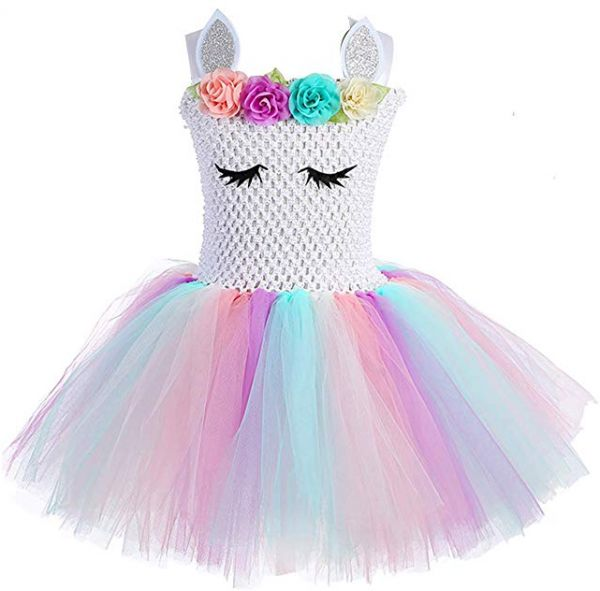 5f00e822c3303 Children Girls Rainbow Unicorn Tutu Dress Princess Fancy Dress Birthday  Pageant Party Dresses Girls Christmas Halloween Pony Cosplay Costume for  Baby ...
