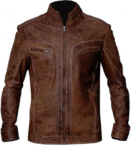 Mens Vintage Biker Motorcycle Distressed Brown Cafe Racer Real