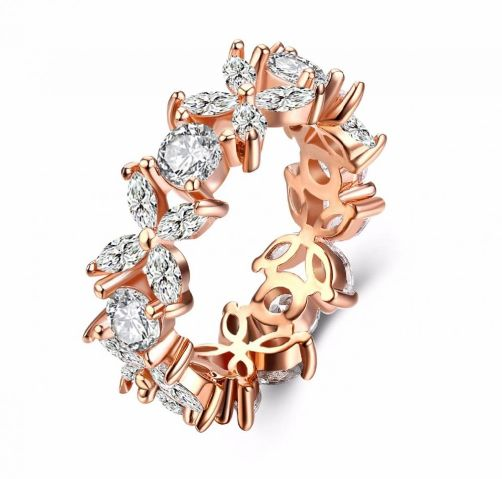 Gorgeous Rose Gold Plated Engagement Wedding Ring for Women