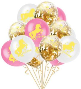 15 PCS Balloons Unicorn Party Decorations 12 Inches Golden Paper ConfettiPink Latex For Girls Baby Shower Birthday Decoration