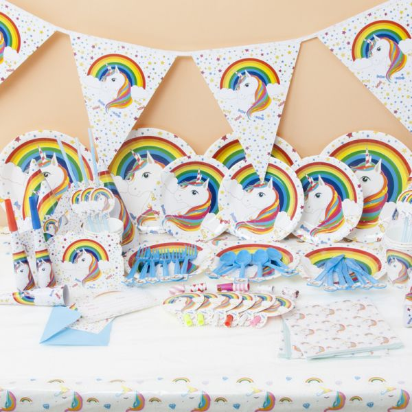 Unicorn Theme Party Style Kids Favor Birthday Decoration Paper Tablecloth Cups Plates Banner Napkins Hats Set Gift Baby Shower Supply 6