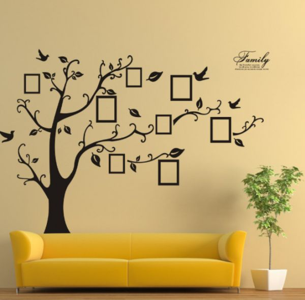 2pcs 3d sticker on the wall black art photo frame memory tree wall