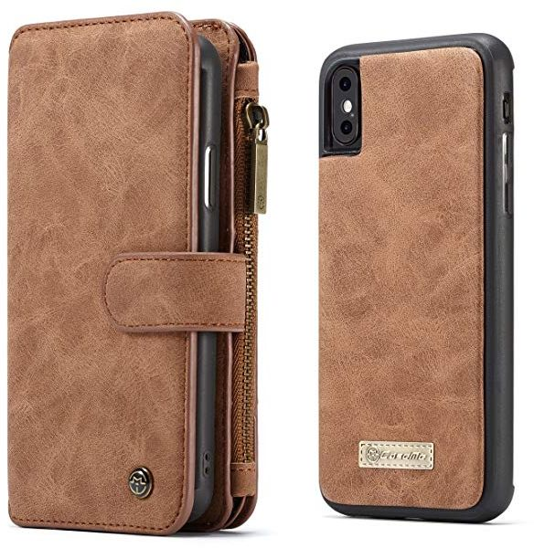 Multifunction iPhone Xs/iphone X leather case wallet cover flip card  pockets anti fall shockproof protective sleeve Screen Protector brown