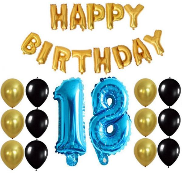 18th Birthday Party Golden Black Balloon Blue Letter Banquet Arrangement Family Or Friends Hotel Decoration Background