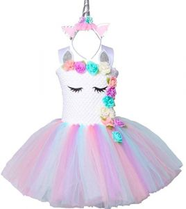 4ecf95936e0d Pastel Unicorn Tutu Dress for Girls Kids Birthday Party Unicorn Costume  Outfit with Headband pompous skirts dance costumes dresses 6-7 Years