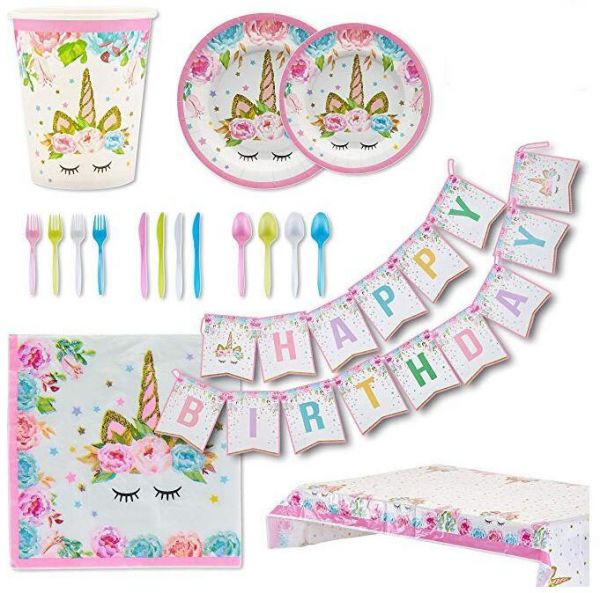 Unicorn Party Supplies Set For 16 Guests Decoration Tableware