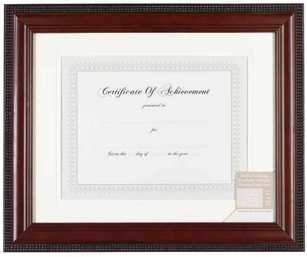 Pinnacle Mahogany Beaded Edge Document Frame with Usable Certificate ...