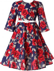 abf84ee3e8d Bonny Billy Girls Classy Vintage Floral Swing Kids Party Dresses 10-11  Years Floral Red