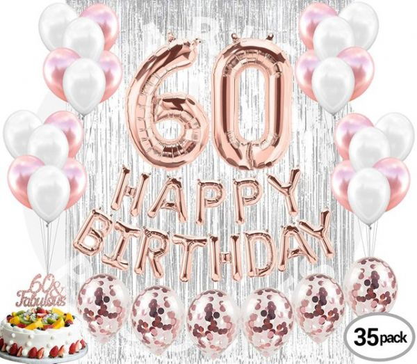 60th Birthday Decorations Party Supplies 60 Fabulous Cake Topper Banner Confetti Balloons Silver Curtain Backdrop Props Photos Bday