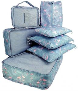 ca18b3ca26 Packing Cubes 8pcs my FL Backpack Organizers Set with Shoes Bag Travel  Luggage Blue Flamingo Patterning