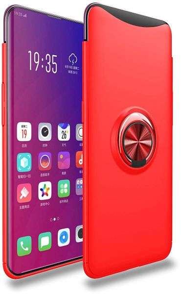 san francisco 31b37 a14fd Oppo Find X Case Premium TPU Bumper Ultra Slim Fit Flexible Phone Case  Cover, Metal 360 Degree Swivel Magnetic Ring Buckle - red