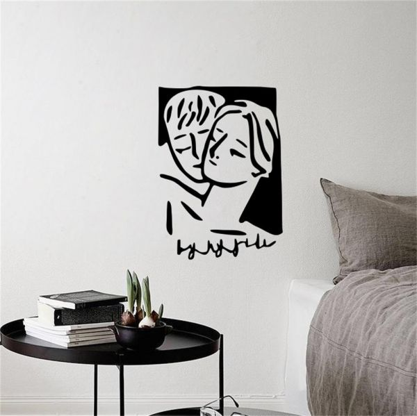 romantic black and white hugs wall stickers bedroom living room home