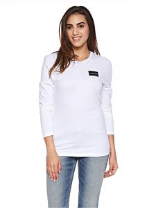 bc9f97f8165aec Calvin Klein Jeans Institutional Box Logo Long Sleeve Tee for Women -  Bright White