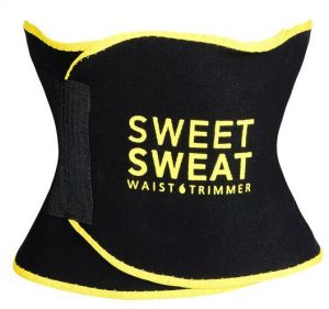a52f01e68e2 Black and Yellow Premium Waist Trimmer Sports Research Sweet Sweat for Men  Women Includes Free Breathable Carrying Case S