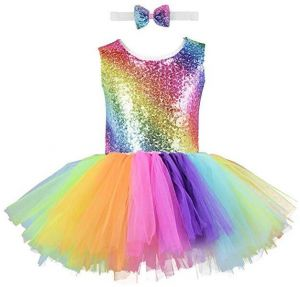 3e5b919c49 Unicorn Girl Sequin Dress Handmade Toddler Rainbow Dress for Party,  Halloween, Special Occasion with Bow Tie for Girls