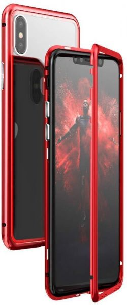 finest selection 2826a 03b22 iPhone Xs Max case KumWum Slim Aluminum Metal Bumper case Magnetic  Adsorption Tempered Glass Back Cover