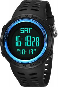 f040b3d6d163 Men s Sport Watch 5 ATM Waterproof Digital Watch for Men and Boys Ø50mm  Unisex Casual Watch with Resin Band ( Blue )