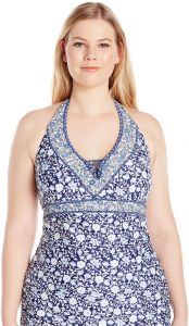 49570f6204050 Jessica Simpson Women's Plus Size Patched up Ditsy Floral Cross Back Halter  Tankini, Peri Multi, 0X