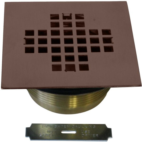 Westbrass 2 Brass Shower Drain With 4 1 4 Square Cover Oil Rubbed