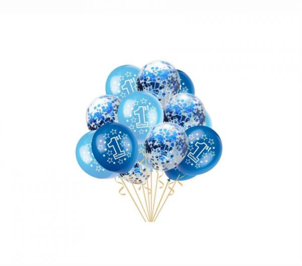 Holiday Atmosphere 15 PCS 1st Birthday Balloons Boy Decorations KitFun To Be OneBlue And Sky Blue Color Sweet Party Decoration