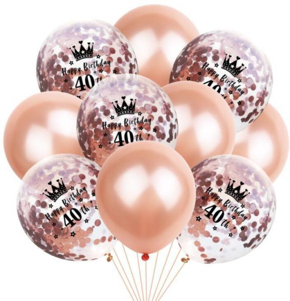 40th Birthday Balloon Decoration Crown Set Romantic Party Package Sequin Rose Gold Latex Bag