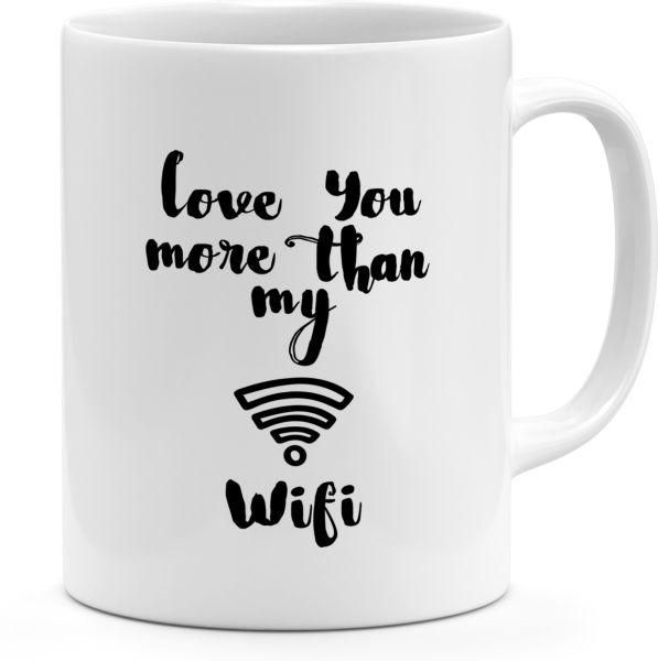 Ceramic Love You More Then My Wifi Best Friends Couples Gift Mug