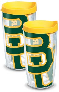 Tervis 1093269 Baylor Bears Colossal Tumbler with Wrap and Yellow Lid 2 Pack 16oz Clear