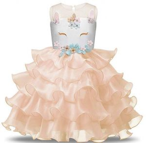 bd8498419fa Kids Girls Flower Tulle Birthday Unicorn Costume Cosplay Princess Pageant  Tutu Dress up Headband Party Outfits Evening Gown for Christmas Halloween