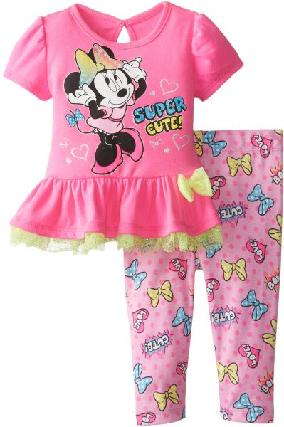 61271c111182 Disney Baby Girls Minnie Mouse Legging Set with Bow and Peplum Top ...