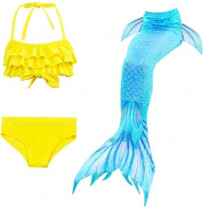 4931f9080262e 3 Pcs Kids Girls Mermaid Tail Bikini Set Cute Swimming Suit Lovely Children  Baby Mermaid Swimsuit Swimwear | KSA | Souq