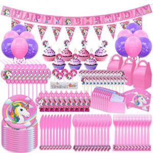 Pawliss 145ct Unicorn Birthday Party Decorations Supplies Kit Favor Boxes Candles Balloons Cupcake Toppers Knifes Forks Spoons Plates Napkins Straws