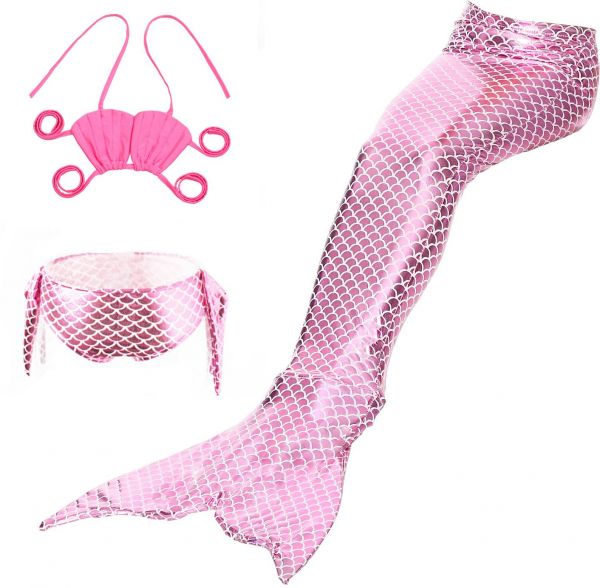 b6e6554449598 Little Girls 3 Pcs Mermaid Tail for Swimming Mermaid Bathing Suits Swimsuit  Bikini Set | KSA | Souq