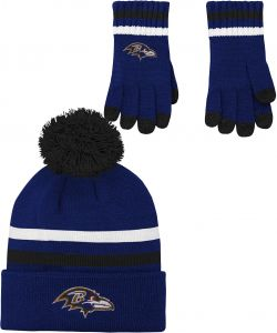 2ea3b8764 NFL by Outerstuff NFL Boys (4-7) 2 Piece Knit Hat and Gloves Set-Rave  Purple