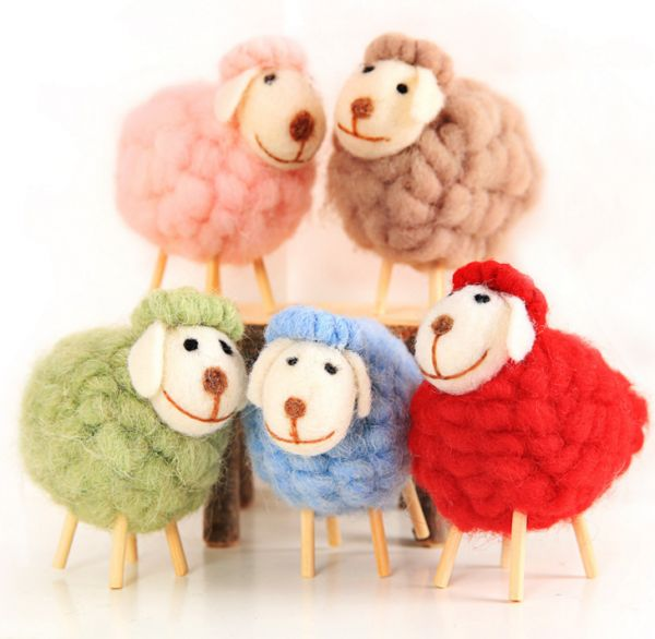 5 Pcs Wool Felt Sheep Home Photography Props Crafts Hotel Shopping Mall Gifts Christmas 12x10cm