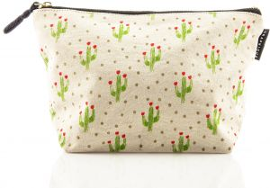 c6e9a7bc67 Graphique Cactus Medium Zip Pouch - Thick Cotton Canvas Storage Bag  w Matching Black Inside Liner