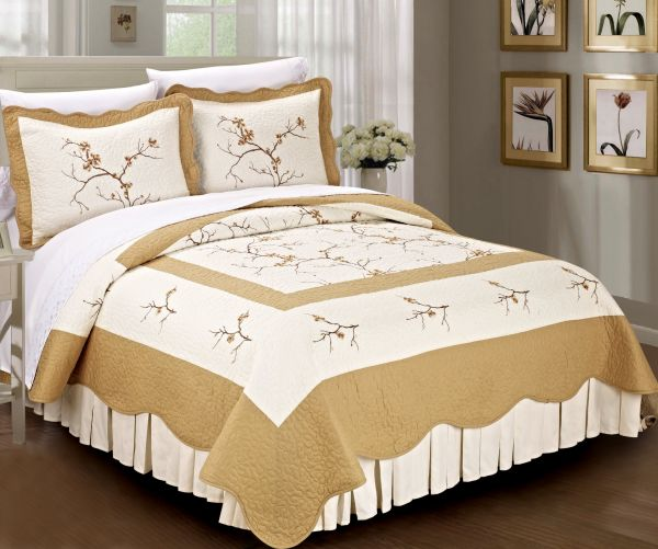 Serenta Classic Embroidered 100 Cotton Bedspread Quilt Blanket 3