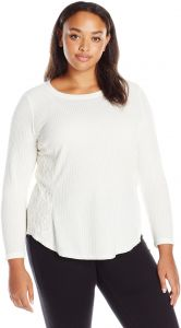 8577ae75e60 OneWorld Women s Plus Size Long Sleeve Scoop Neck Waffle Knit Top with Lace  Insets