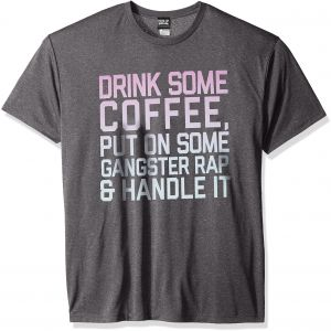aa1801763ebb Chin-Up Men's Coffee Rap Marled Charcoal Premium Performance Graphic Tee,  Charcoal Heather, X-Large