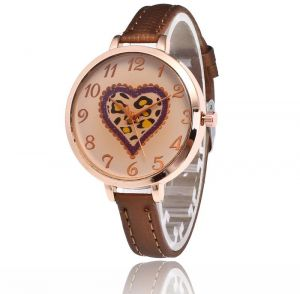 52df0338e22c Women S Small Watch With Brown Face Fashion Heart Watch