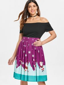5570a1f005a910 Christmas Off The Shoulder Swing Dress