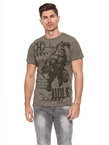 f5cd378e4dffac Splash Character Graphic Print T-Shirt for Men - Grey