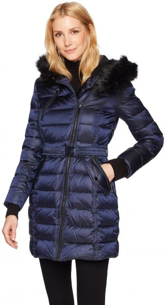 9e5df164d5f0 French Connection Women s Down Coat With Belt and Sherpa Lined Faux ...